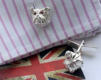 Bulldog cufflinks in Sterling Silver and Ruby eyes