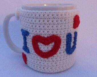 Valentines gift, Crochet mug cozy. Cream crochet mug hug or mug warmer. Homewares, Birthday gift, Christmas gift, Valentines day