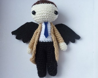 Castiel from Supernatural - SPN fandom toy - chibi crochet doll made on order - two sizes