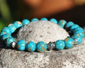 Powerful Blue Turquoise Beaded Bracelet, Healing Bracelet, Chakra bracelet , Meditation , Yoga Bracelet