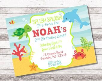 Boy's Under the Sea Birthday Invitation | 1st 2nd Birthday Invitation | Under the Sea Theme Party | Boy Birthday Invite | Digital Invite