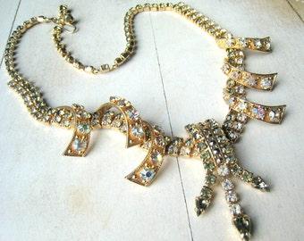 HOBE Stunning Signed Vintage Rhinestone and AB Necklace Gold Tone Choker Style Vintage Bridal Wedding Jewelry Hollywood Glamour Runway