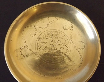 """Brass 3"""" Diameter Dish  Pin  Coin Dish with Etching CL29-11"""