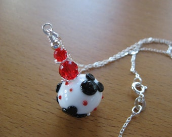 Necklace, Mickey Necklace, Minnie Necklace, Disney, Christmas, Disney Cruise, Lampwork Necklace, Handmade Lampwork, Holiday, Cute