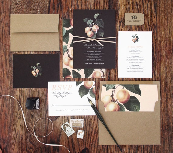 Southern Peach Wedding Invitation and Correspondence Set / Vintage Peach Florals with Script Accents / Sample Set
