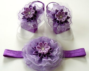 Baby Headband and Baby Barefoot Sandals. Baby shoes. Baby headband. Purple Baby Girl Accessories
