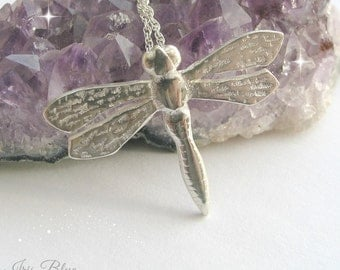 Large Dragonfly Necklace, Sterling Silver Necklace, Gift Idea for Her