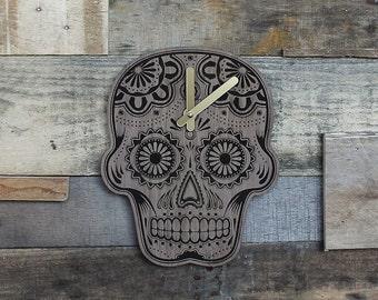 Handmade Wood Dia de los Muertos Sugar Skull Clock - Walnut