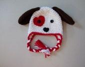 Valentine Puppy Hat- Puppy Hat - Dog Hat - Animal Hat- Crochet Puppy Hat - Baby Puppy Hat - Toddler Puppy Hat, Child Puppy Hat -Crochet Hat