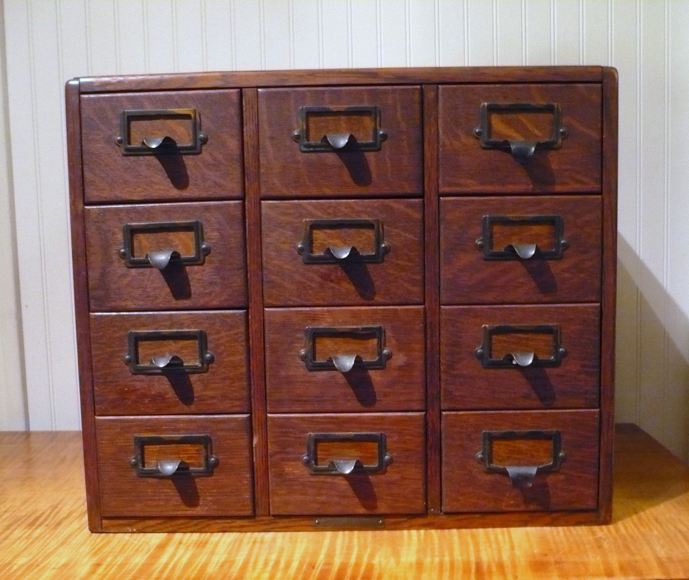 library card catalog antique oak 12 drawer file by actionltd