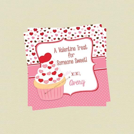 Printable Personalized Cupcake Valentine\'s Day Favor Tag/Cupcake ...