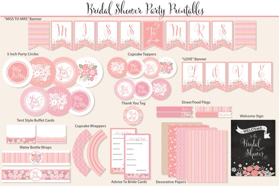 Bridal Shower Printable Party, Blush and Pink, Includes Cupcake Toppers, Banner, Tags and More