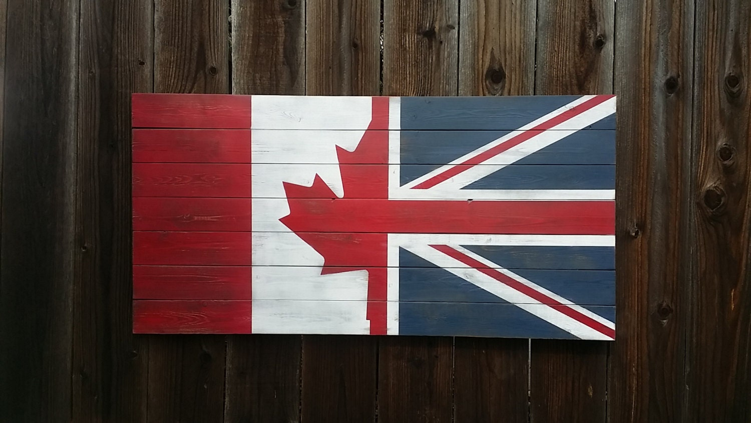 Half Canada Half U K Vintage Style Wall Art Flag On Wood
