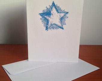 Heat Embossed Card - Shining Star in Glitter Blue on White