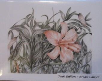 Pink Flower Cards (Breast Cancer)