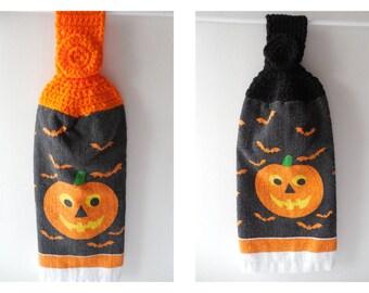 Halloween Pumpkin Hanging Towel - Black or Orange- Crochet Top - Handmade Crochet - Halloween Decor - Made to Order