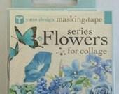 Japanese Washi Tape Yano Design Masking Tape Flowers  for Collage Series - Blue, Round top Washi Tape wholesale