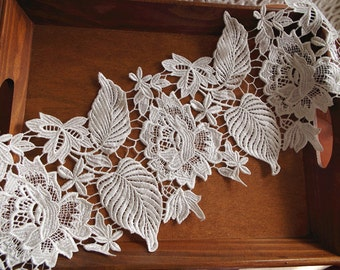 Lace Trim with floral and leaves