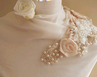Pearl Beading applique, rosette fabric applique, bridal applique, corsage, fabric applique, bead bodice embellishment ON SALE