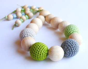 Baby wooden rattle, teething toy, natural teether, teething ring, developmental toy, crochet wooden beads, rainbow, green grey