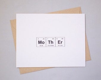 "Periodic Table of the Elements ""MoThEr"" / ""STeP MoThEr"" /""MoThEr IN LaW"" Card / Sentimental Elements Card for Women in Science/Mother's Day"