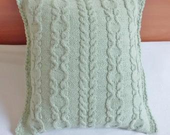 Cable Knit Pillow Cover Aqua, Knit Throw Pillow, Decorative Pillow, Hand Knit Pillow Case, 16x16 Pillow Cover