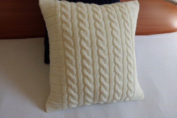 ivory cable knit pillow cover knit throw pillow off white hand knit pillow case 16x16. Black Bedroom Furniture Sets. Home Design Ideas