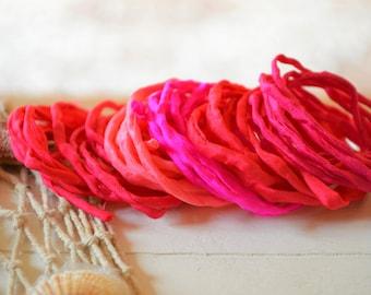 Hand dyed Silk Cords  - Set of 6 - pink fuchsia magenta silk strings