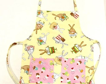 Cooking Bunnies -  Child's Apron - Art Apron - Cooking Apron - Child Apron