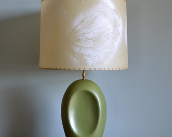 Mid Century Green Ceramic Lamp with Fiberglass Shade