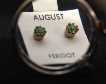 Vintage 1960's Birthstone Earrings - AUGUST (ABX1D)