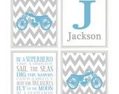 Motorcycle Nursery Art, Personalized Nursery Prints, Chevron Art, Baby Boy Room, Motorbike Wall Art, Blue Gray Decor, Boy Rules Print, Gift