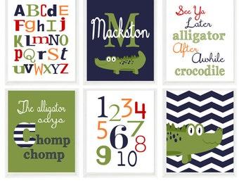 Alligator Nursery Wall Art, Baby Boy Nursery, Personalized Nursery Art, Chevron Gator, Alphabet Print, Number Art, See Ya Later Alligator