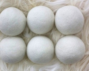 FULL Set of XL 6 White OR 6 Gray Wool Dryer Balls for Softening Laundry- 100% Natural Laundry Softener