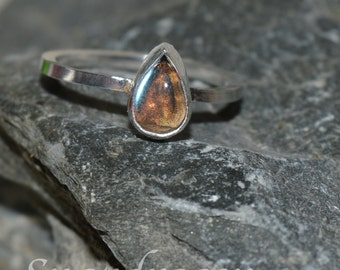 Labradorite sterling silver pear shaped ring size 8 3/4 US / Q/R UK