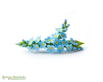Barrette Forget-me-not - Polymer Clay Flowers