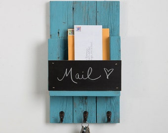 Mail Holder with Chalk Board and Hooks