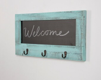Chalkboard and Hooks Made from Reclaimed Wood