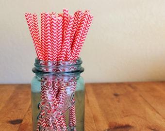 25 Red Chevron Striped Paper Straws