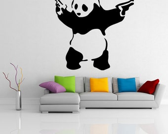 Banksy Vinyl Wall Decal Panda with Pistols (Guns) / Street Graffiti Art Decor Sticker / Removable DIY Home Mural + Free Random Decal Gift