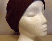 319 Beautiful Brown Solid 100% Linen Turban Snood Cap Head Cover