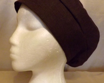 316 Chocolate Brown Solid 100% Linen Turban Snood Cap Head Cover