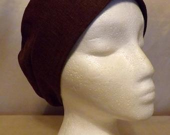 319 Beautiful Brown Solid 100% Linen Turban Snood Cap Head Cover