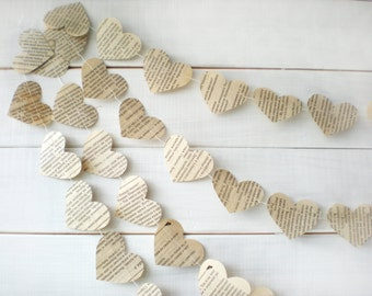 Book Page Hearts Wedding Garland, Eco Friendly Garland, Paper Wedding Decorations, Paper Hearts Garland - 10 foot long garland