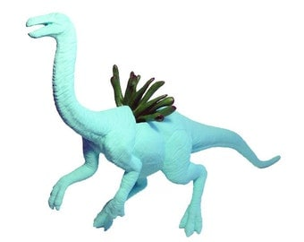 Huge Recycled Key West Blue Struthiomimus Dinosaur Planter