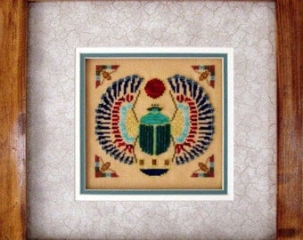 "Ancient Egyptian Cross Stitch Instant Download PDF Pattern ""Scarab"" Counted Beaded Embroidery Design Historical Art X Stitch DIY Home Decor"