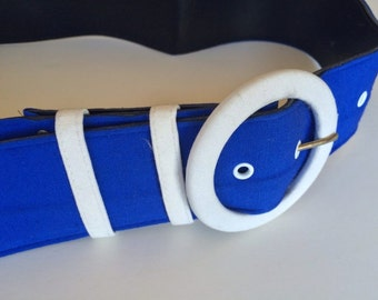 Navy & White Nautical Belt 1970s Vintage Belt