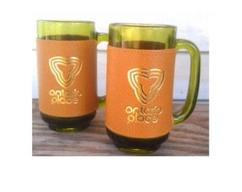 Vintage Beer Mugs -Ontario Canada-Green Glass -Set of 2- with Button Clasp Cover