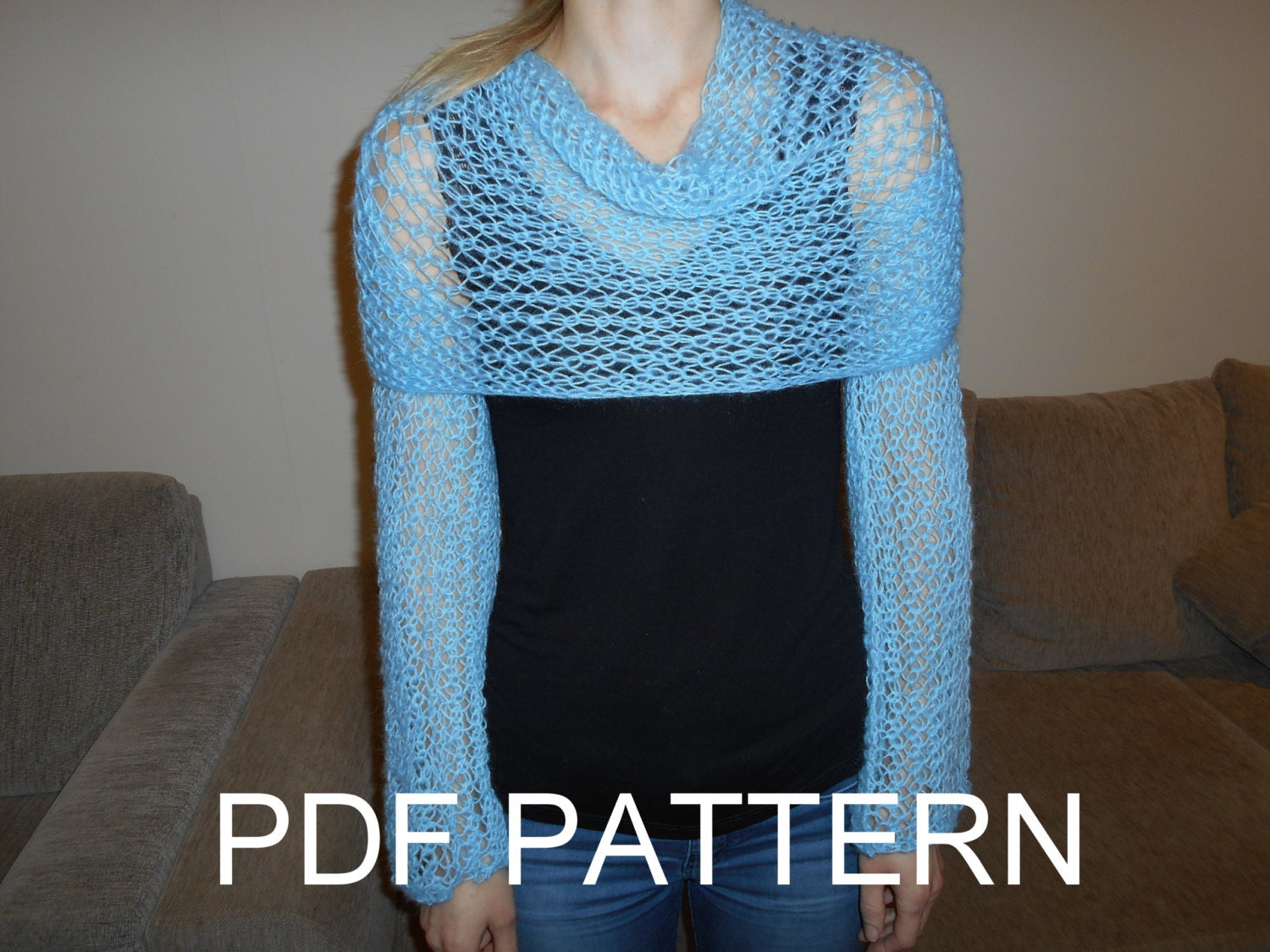 Knitting Pattern For Scarf With Sleeves : PDF KNITTING PATTERN for long sleeves lace scarf sweater