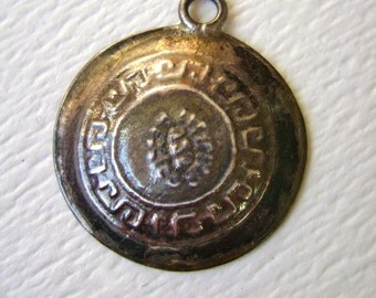 Mayan style Mexican charm, vintage sterling